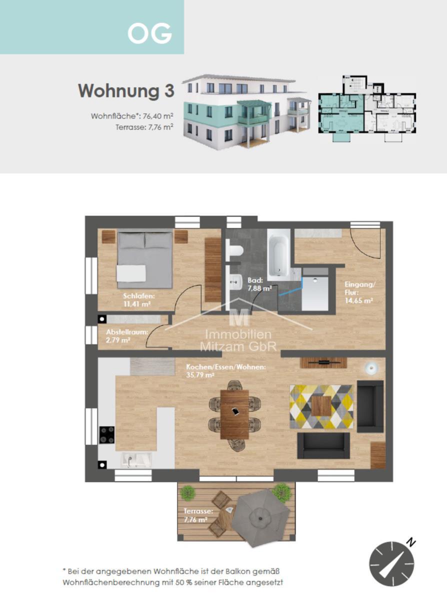 Grundriss Obergeschoss W3