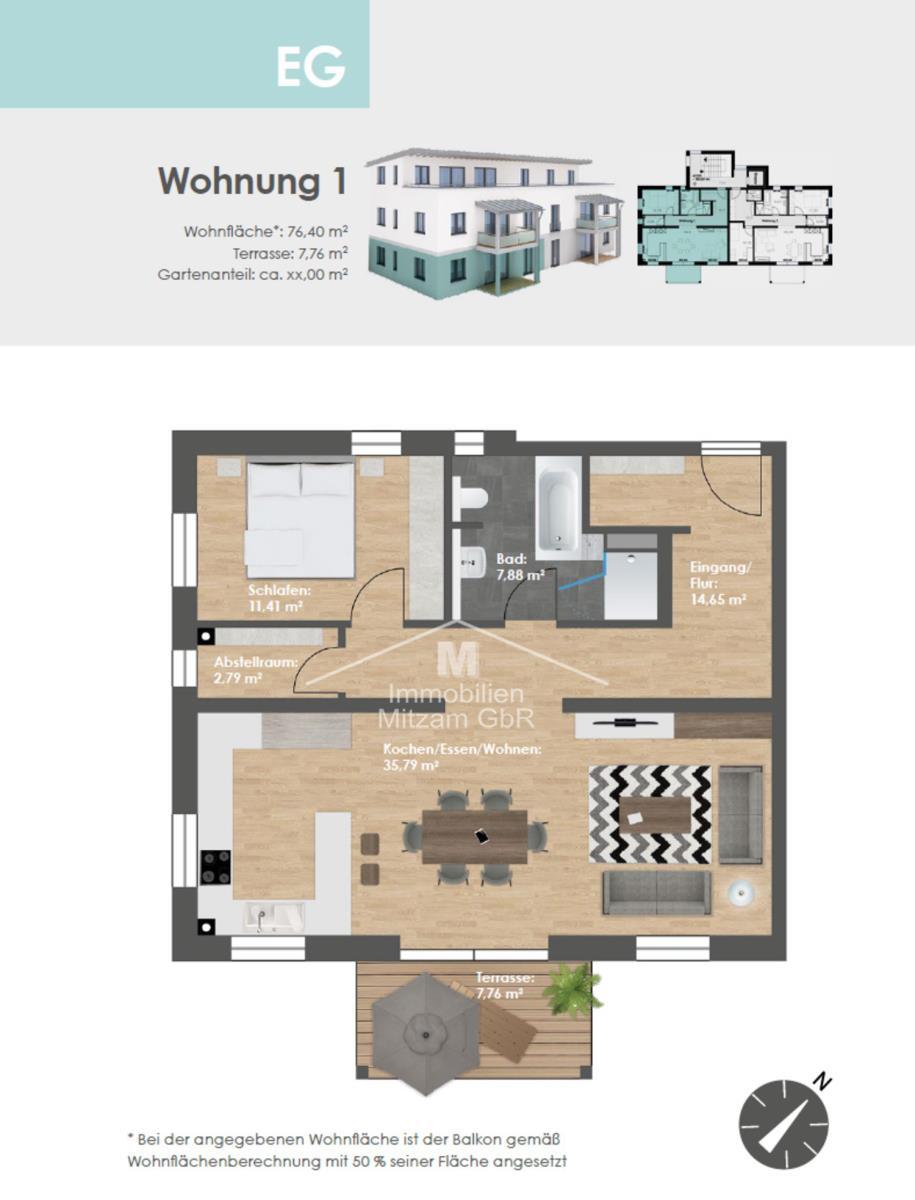 Grundriss Erdgeschoss W1